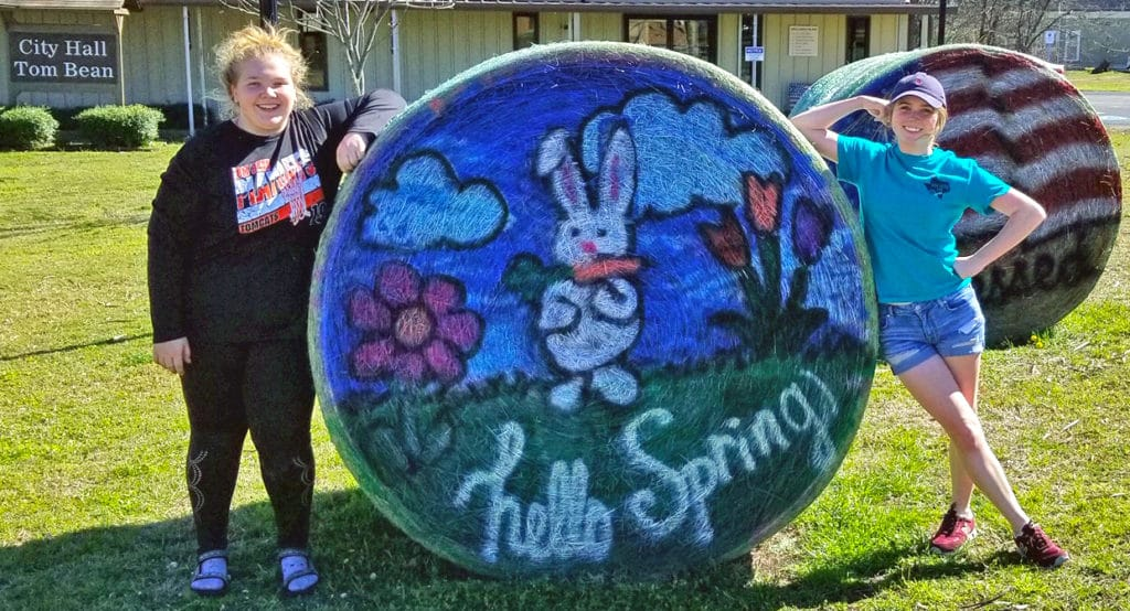 Tom Bean Hay Bales Decorated for Spring