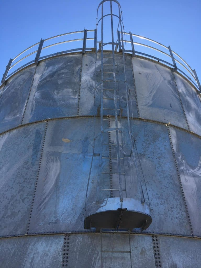 Outside of new water storage tank in Tom Bean